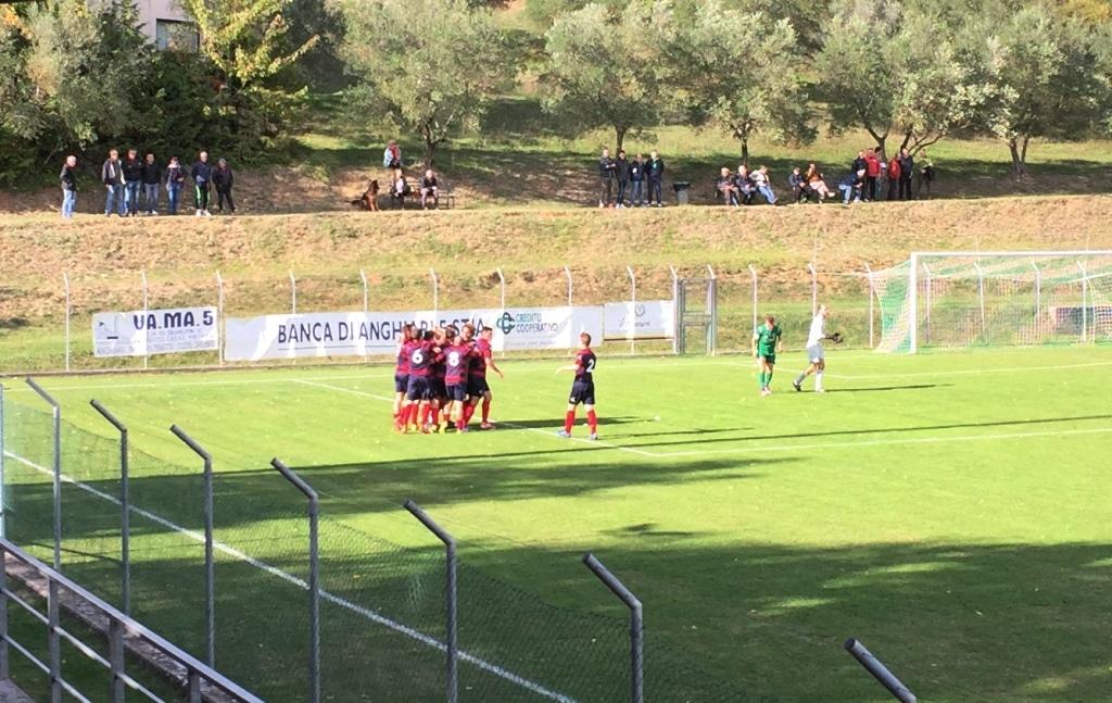 Baldaccio - Sinalunghese foto esultanza 1-0 Vasseur