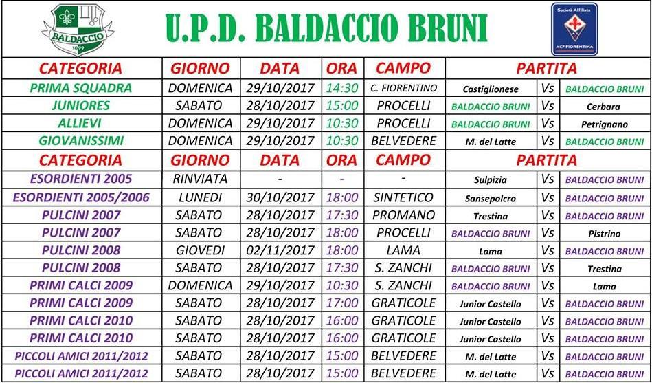 ok impegni fine ottobre scuola calcio Baldaccio Bruni